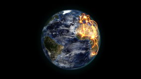 Shaded Earth with orange connections turning on itself with moving clouds with Earth image courtesy stock footage