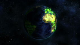 Shaded Earth turning on itself with grid and green connections with Earth image courtesy of Nasa.org. Shaded Earth turning on itself with grid and green stock footage
