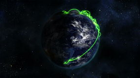 Shaded Earth turning on itself with moving clouds and green connections with Earth image courtesy of stock video
