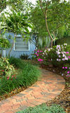 Shaded garden path Stock Images