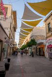 Shaded Ledras walking street with shops in Nicosia city centre. Cyprus royalty free stock photo