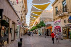 Shaded Ledras walking street with shops in Nicosia city centre. Cyprus stock photos