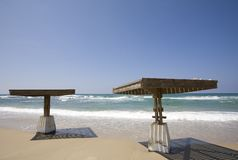 Shaded platforms by the beach Caesarea. A luxury resort on the Mediterranean Sea Stock Photography