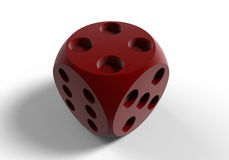 Shaded red dice illustration. 3D render illustration of a shaded red dice. The object is isolated on a white background with shadows Royalty Free Stock Photography