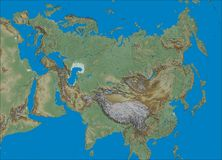 Shaded relief Eurasia map Stock Image