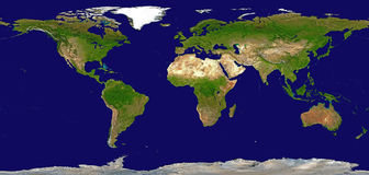 Shaded Relief Map of the World Stock Photos