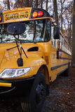Shaded School Bus. A right front view of a school bus parked in the shade Royalty Free Stock Photography
