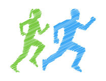 Shaded silhouettes runners. Pencil silhouettes athletes Royalty Free Stock Photography