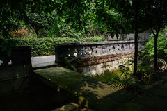 Shaded slab bridge over irrigation canal in sunny summer Stock Images