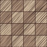 Square tile, background, seamless, gray, vector. The shaded squares on the diagonal in light grey with a brown tint. Wood texture, shading pencil, simulation Stock Image