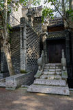Shaded stone stairway of old-fashioned Chinese building in morni Stock Photography