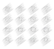 16 shaded vector icons. Simulating a simple pencil Royalty Free Stock Photography