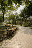Shaded wayside bench on sunny day Royalty Free Stock Photography