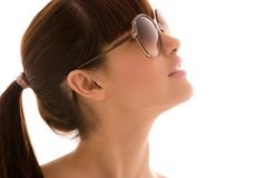 Shades. Closeup portrait of lovely woman in shades Royalty Free Stock Photo