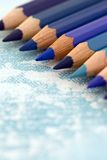 Shades  of Blue. Pencil crayons in different shades of blue Stock Image