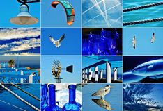 Shades of blue collage. Picture collage with different motives in blue stock image