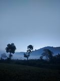 Shades of blue. Lammasingi , early morning foggy Royalty Free Stock Image