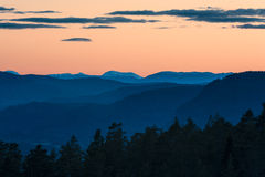 Shades of blue. A May sunset near Kongsberg, Buskerud, Norway Royalty Free Stock Photography