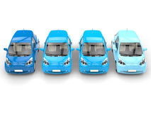 Shades of blue - Row of cool urban modern compact cars Stock Photos