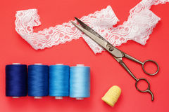 Shades of blue with sewing equipment Stock Photography