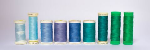 Shades of Blue Thread Spools Stock Photography