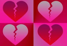 Shades of four broken red hearts - illustration royalty free stock photos