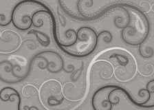 Shades of Gray Paisley Pattern Background Stock Photography