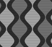 Shades of gray striped dark and light bulging waves on dark Stock Photos