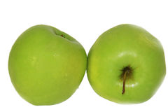 Shades of green. Isolates. Two apples in green tones. All shades of green. Isolates Stock Image