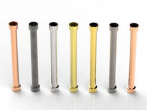 Shades of metal pipes with joints Royalty Free Stock Photo