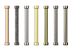 Shades of metal pipes with joints Stock Image