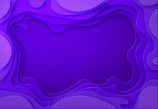 Shades of purple with smooth transitions are cut from paper. Place for ad announcement. abstract art of carving. Vector illustration royalty free illustration