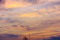 Shades of sky with light clouds at sunset Royalty Free Stock Photography
