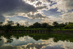 Shades and structure, clouds and reflection Royalty Free Stock Image