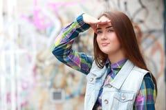 Shading her eyes Stock Images