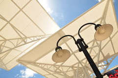 Shading structure with lighting. Shading structure, one of the good outdoor landmark stock photos