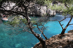 Shadow. The blue water of the calanques of marseille Stock Photos