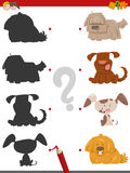 Shadow activity with cartoon dogs. Cartoon Illustration of Find the Shadow Educational Activity Game for Children with Dog Characters Stock Photo