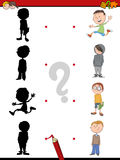 Shadow activity for children. Cartoon Illustration of Find the Shadow Educational Activity Game for Children with Kid Boys Royalty Free Stock Photography
