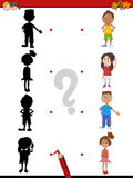 Shadow activity with children. Cartoon Illustration of Find the Shadow Educational Activity Game for Children with Kids Stock Photos
