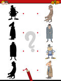 Shadow activity for children. Cartoon Illustration of Find the Shadow Educational Activity Game for Children with Man in Hat Royalty Free Stock Photos