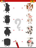 Shadow activity with cow animals. Cartoon Illustration of Find the Shadow Educational Game for Children with Cows Farm Animal Characters Stock Photography