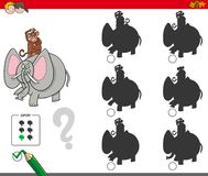 Shadow activity game with elephant and monkey. Cartoon Illustration of Finding the Shadow without Differences Educational Activity for Children with Monkey and Royalty Free Stock Image