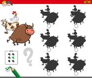 Shadow activity game with farm animals Stock Images