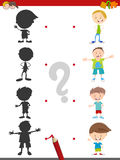 Shadow activity with kids. Cartoon Illustration of Find the Shadow Educational Activity Game for Children with Boys Kid Characters Royalty Free Stock Photo