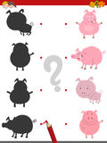 Shadow activity with pig animals. Cartoon Illustration of Find the Shadow Educational Game for Children with Pig Farm Animal Characters Royalty Free Stock Photos