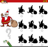 Shadow activity with santa claus. Cartoon Illustration of Finding the Shadow without Differences Educational Activity for Kids with Christmas Santa Holiday Stock Photography