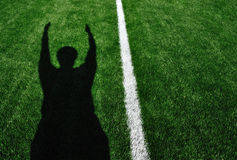 Shadow of American Football Referee Touchdown Stock Images