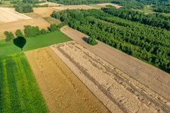 The shadow of a balloon flying over cultivated fields with a view of the cloudless sky. Below you can see the destroyed fields during a storm Royalty Free Stock Photos