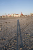 Shadow on the beach in Coronado San Diego California Royalty Free Stock Images